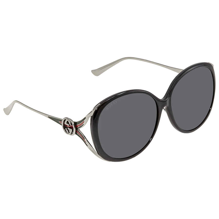 Gucci Grey Oversized Ladies Sunglasses Gg0226sk 002 60 In Black,grey