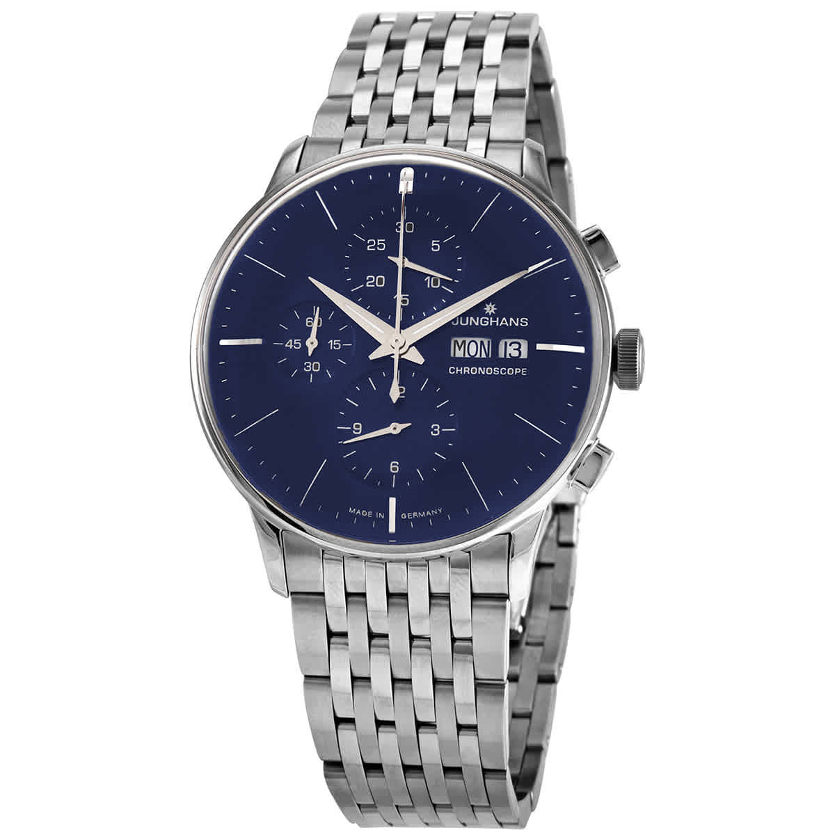 Junghans Meister Chronoscope Chronograph Automatic Blue Dial Mens Watch 027/4528.44