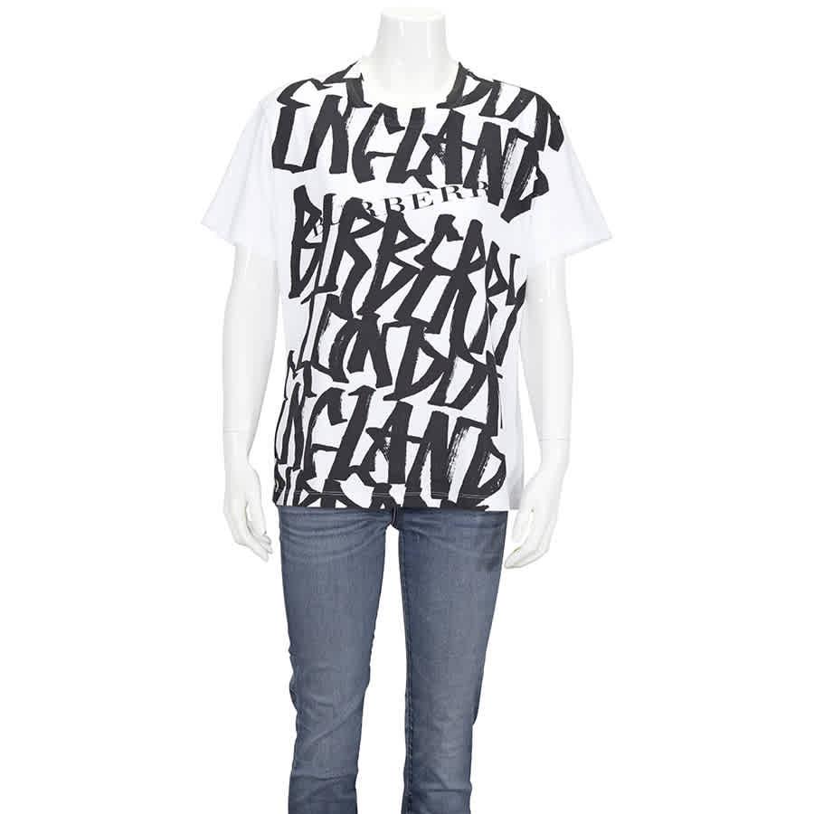 Burberry Womens White Graffiti Print T-shirt