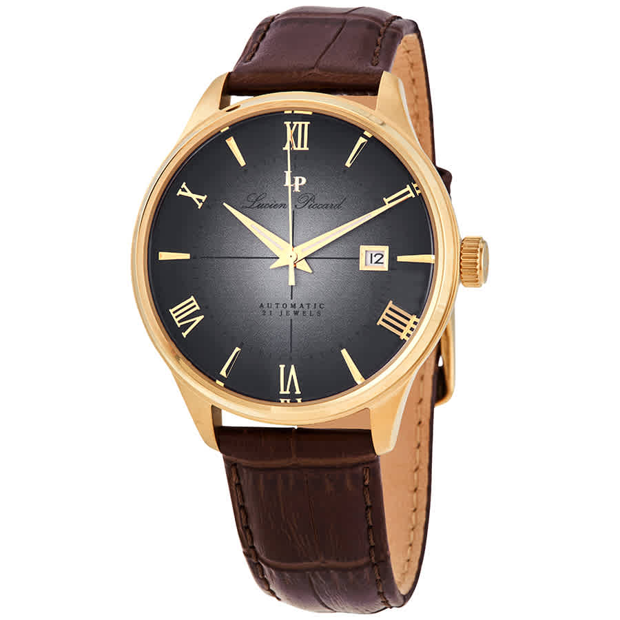 Lucien Piccard Automatic Grey Dial Mens Watch Lp-1881a-yg-01 In Brown,gold Tone,grey