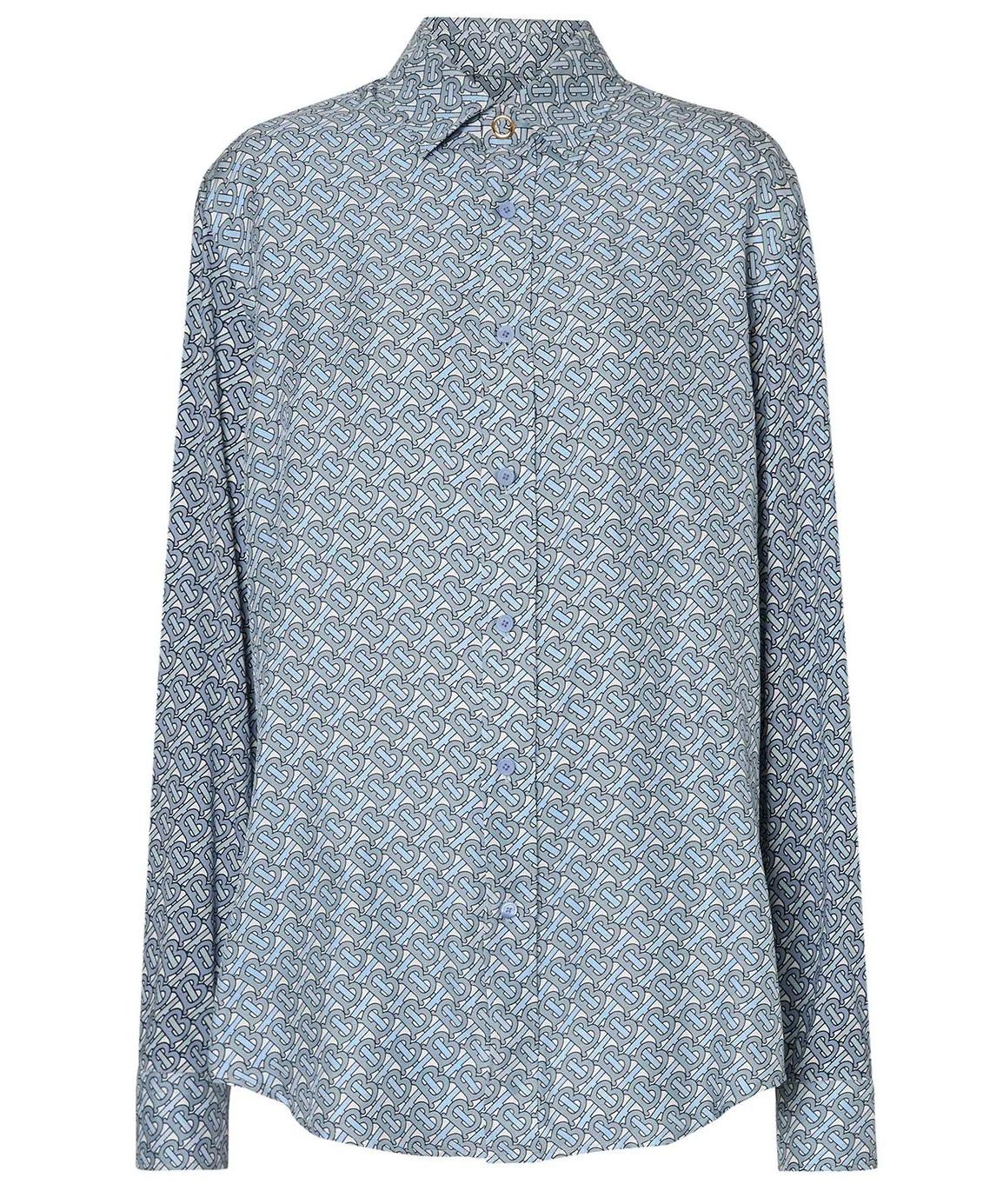 Burberry Tb Monogram Print Silk Oversized Shirt In Blue