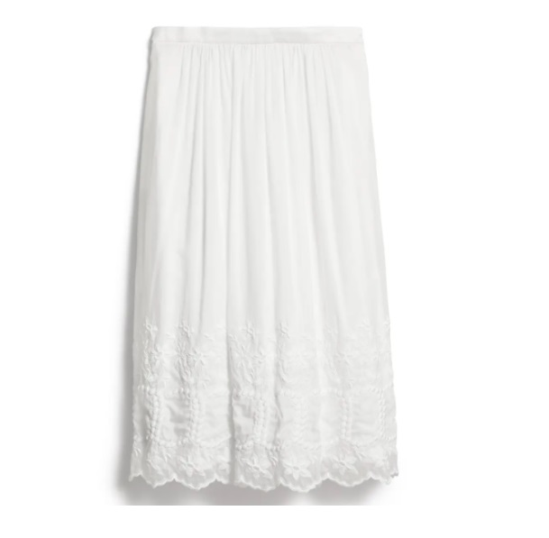 Burberry Shaftesbury Embroidered Cotton And Silk Skirt In White