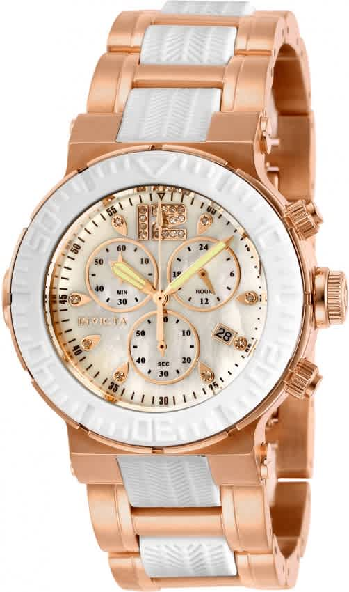 Invicta Ocean Reef Chronograph Quartz White Dial Ladies Watch 29668 In Gold Tone,pink,rose Gold Tone,white