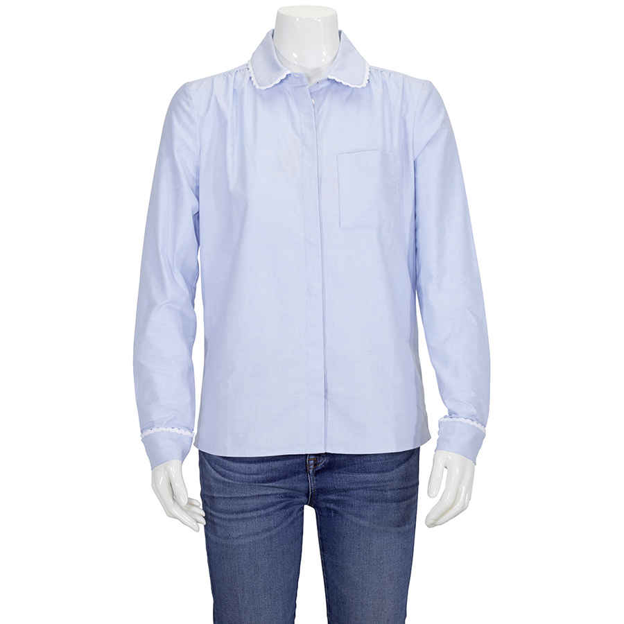 Burberry Ladies Woven Cornflower Rounded Collar Shirt In N,a