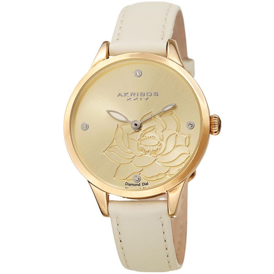 Akribos Xxiv Diamond Gold Dial Ladies Watch Ak1047wt In Gold Tone,white