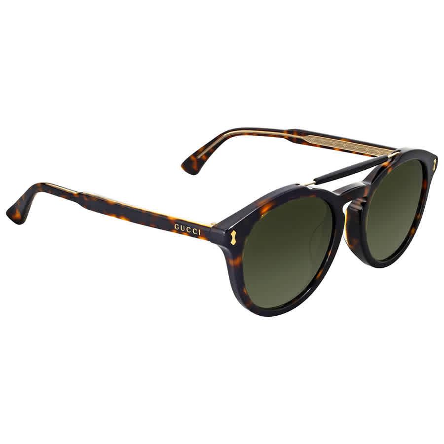 Gucci Dark Havana Round Sunglasses In N,a