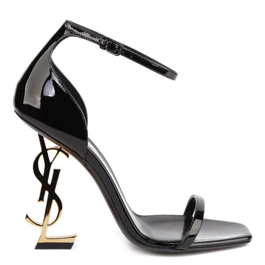 Saint Laurent Ladies Black Sandals In Black,gold Tone