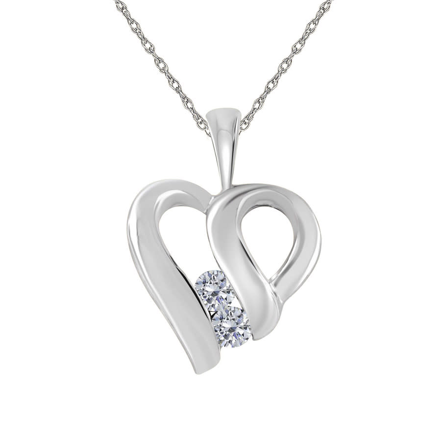 Maulijewels 0.35 Carat Heart Shape White Diamond Pendant In 10k White Gold With 18'' 10k White Gold Plated Sterl In Gray