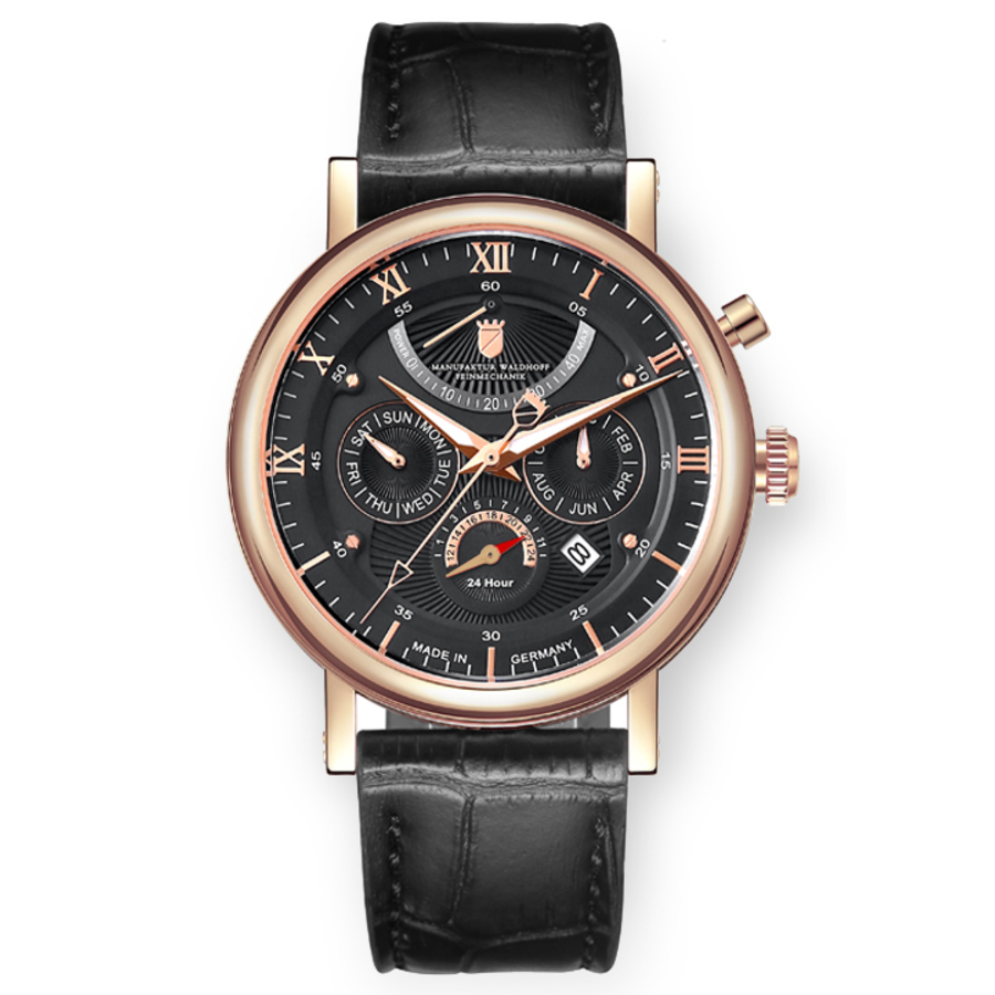 Waldhoff Multimatic Rose Gold Obsidian Black Automatic Black Dial Mens Watch 03d In Black,gold Tone,pink,rose Gold Tone