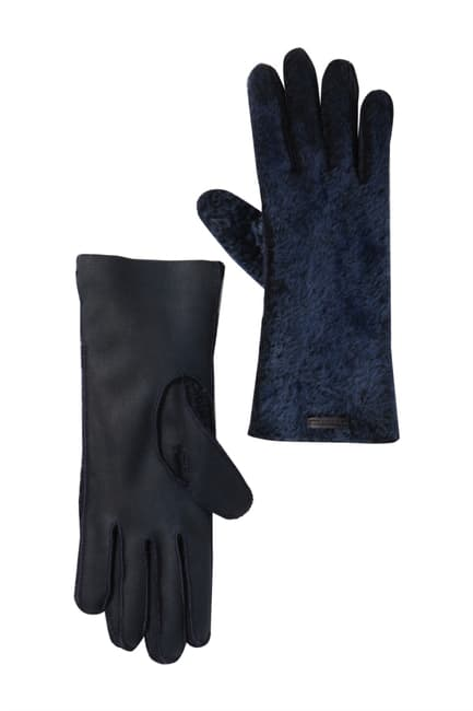 Burberry Ladies Navy Genuine Shearling Gloves In Blue