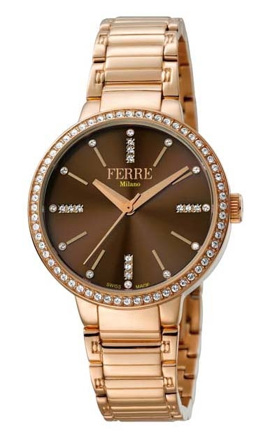 Ferre Milano Brown Dial Ladies Watch Fm1l084m0091 In Pink