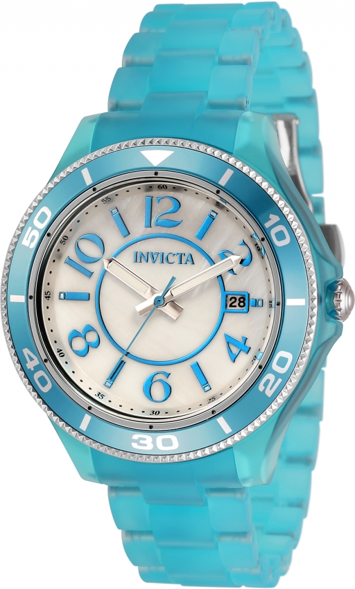 Invicta Anatomic Quartz White Mother Of Pearl Dial Ladies Watch 30354 In Blue
