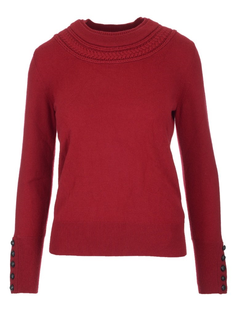 Burberry Cable Knit Cashmere Sweater In Military Red