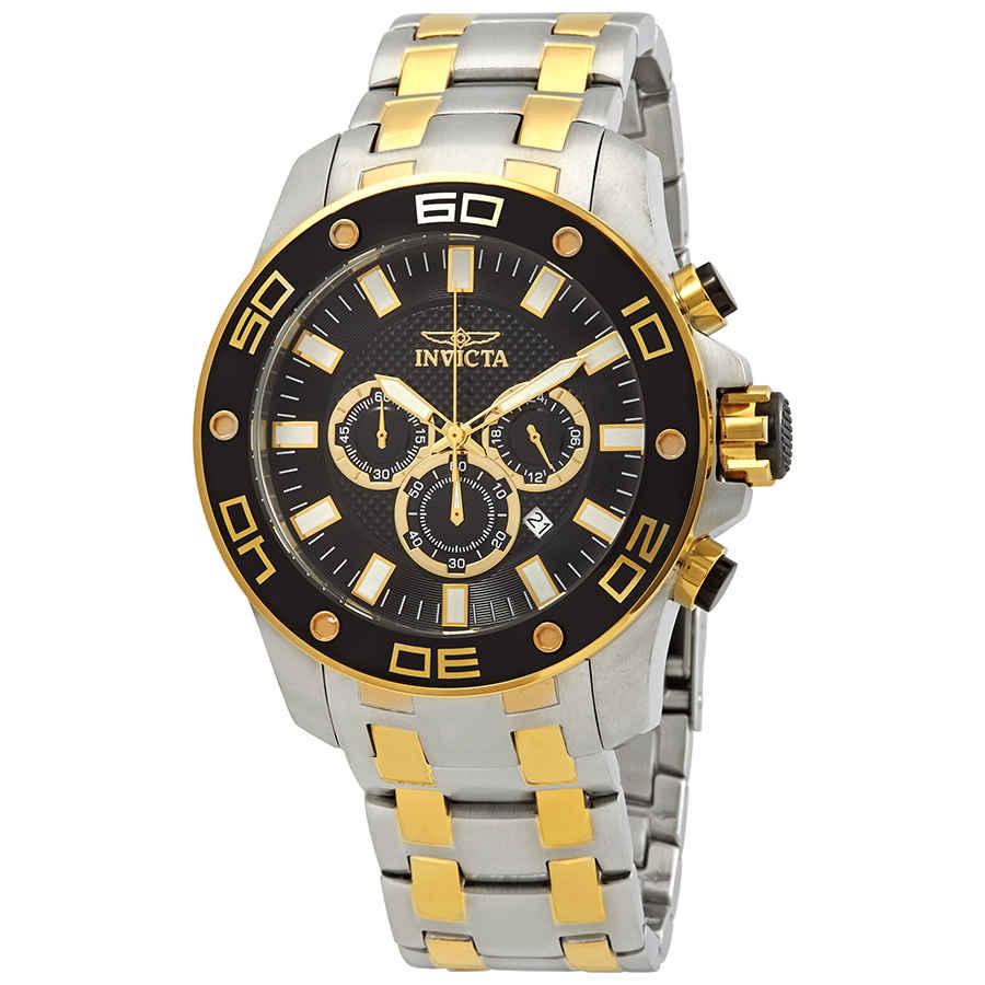 Invicta Pro Diver Chronograph Black Dial Two-tone Mens Watch 26081 In Metallic