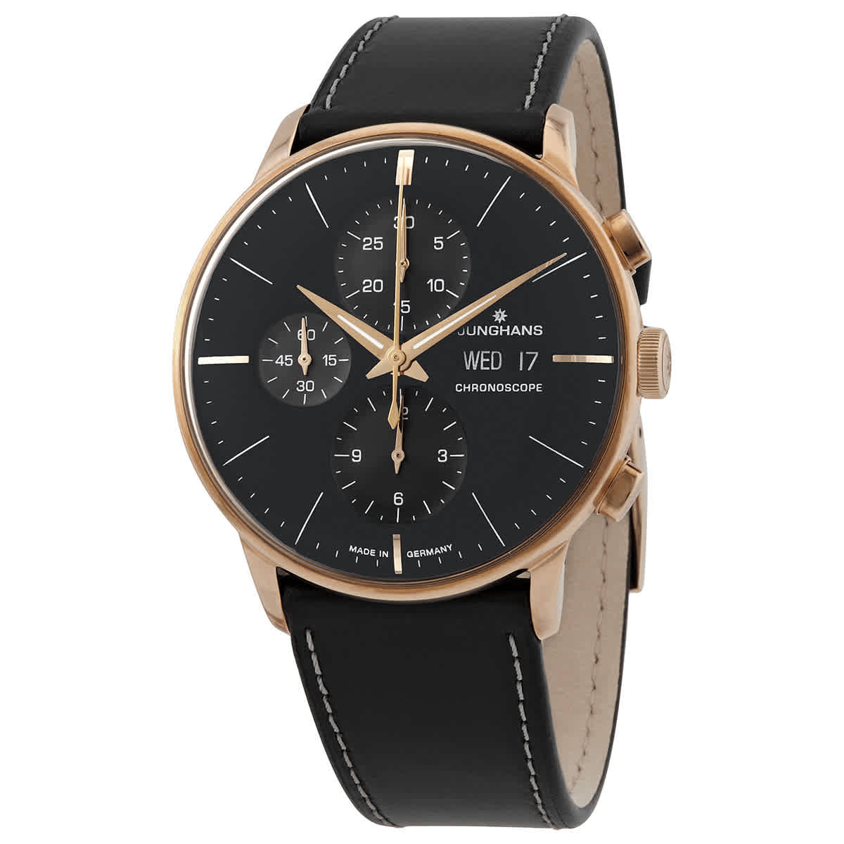 Junghans Meister Chronoscope Chronograph Automatic Black Dial Mens Watch 027/7923.01 In Black,gold Tone,pink,rose Gold Tone