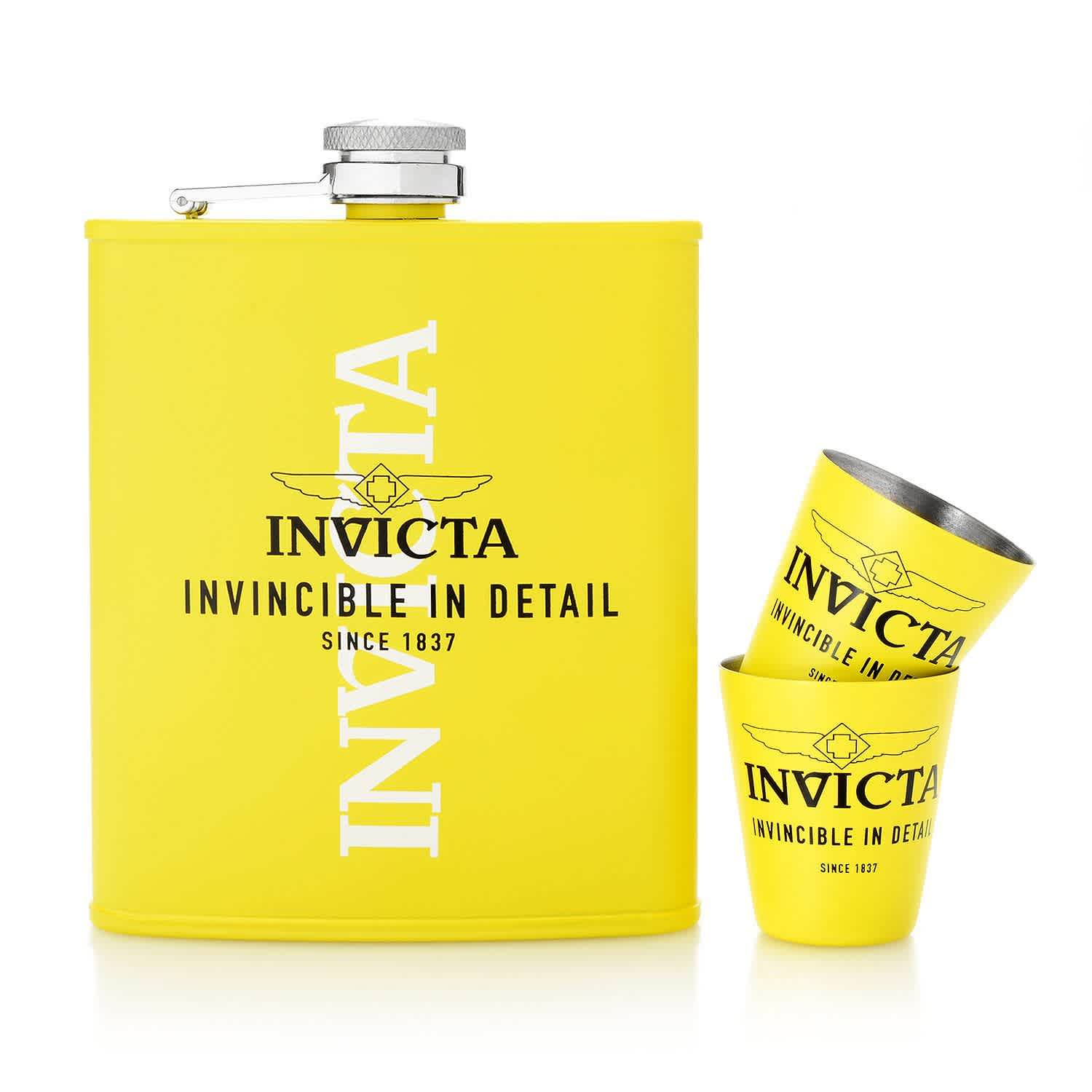 Invicta Dc3-flask Set With Dc3yel Watch Collector Box In Yellow