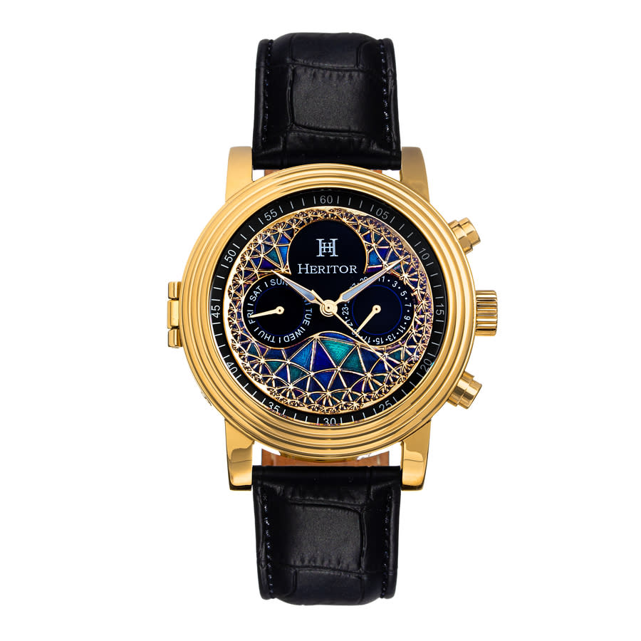 Heritor Legacy Automatic Multi-color Dial Mens Watch Herhr9703 In Black