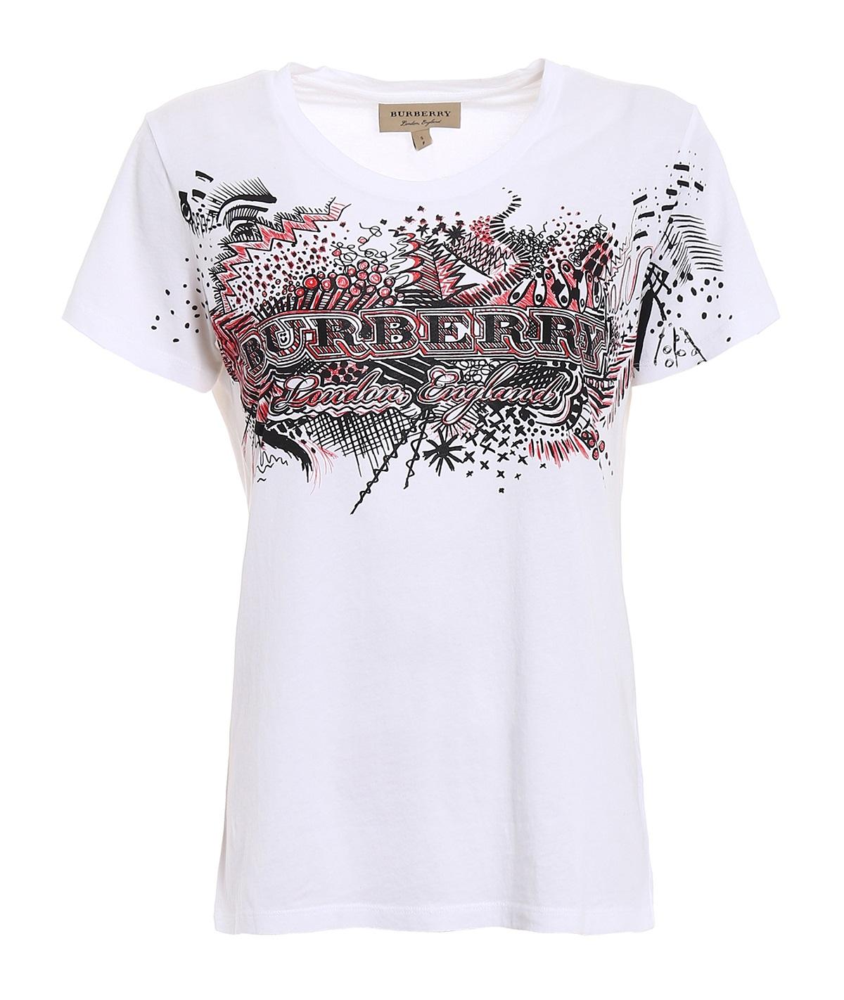 Burberry White Doodle Print T-shirt