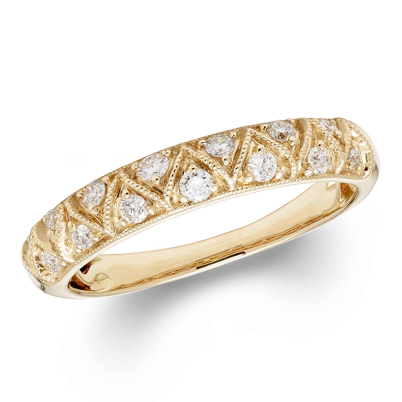 Cya K Certified Diamond Wedding Ring 0.25ct 14k Yellow Gold R124101y-8 Size 8