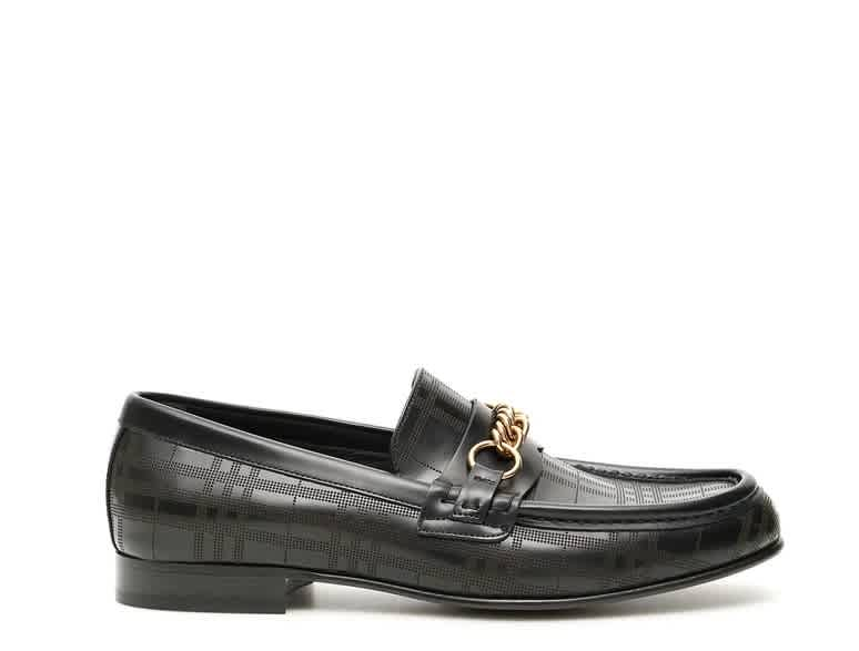 Burberry Link Detail Leather Loafers In Black
