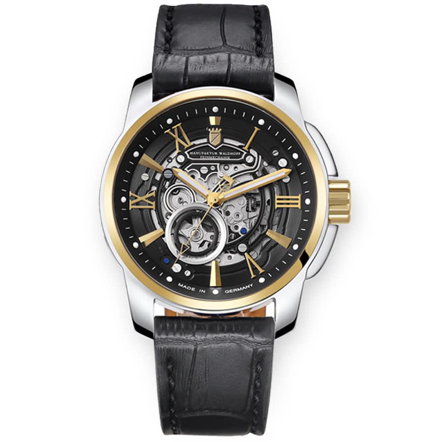 Waldhoff Republic Gold Automatic Black Dial Mens Watch 04e In Black,gold Tone,silver Tone,yellow