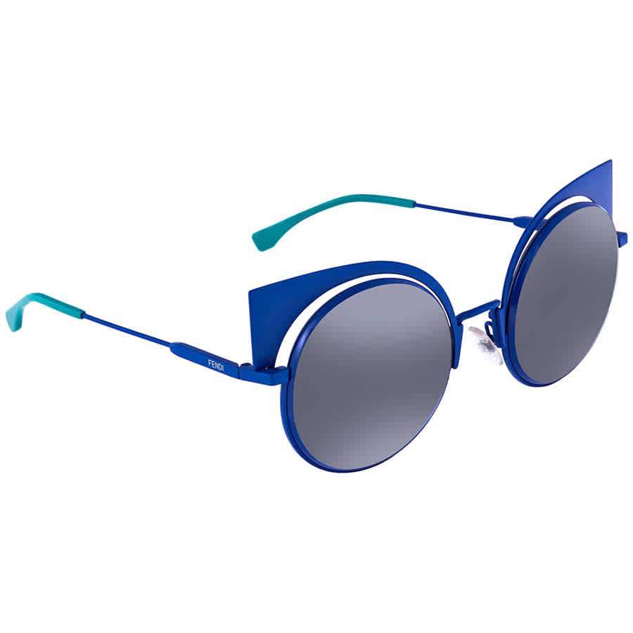 Fendi Eyeshine Blue Mirror Cat Eye Ladies Sunglasses Ff 0177/s 27f53hl