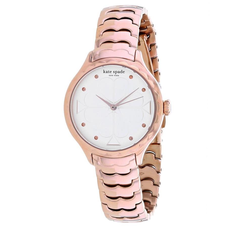 Kate Spade Metro White Dial Rose Gold-tone Ladies Watch Ksw1504 In Pink