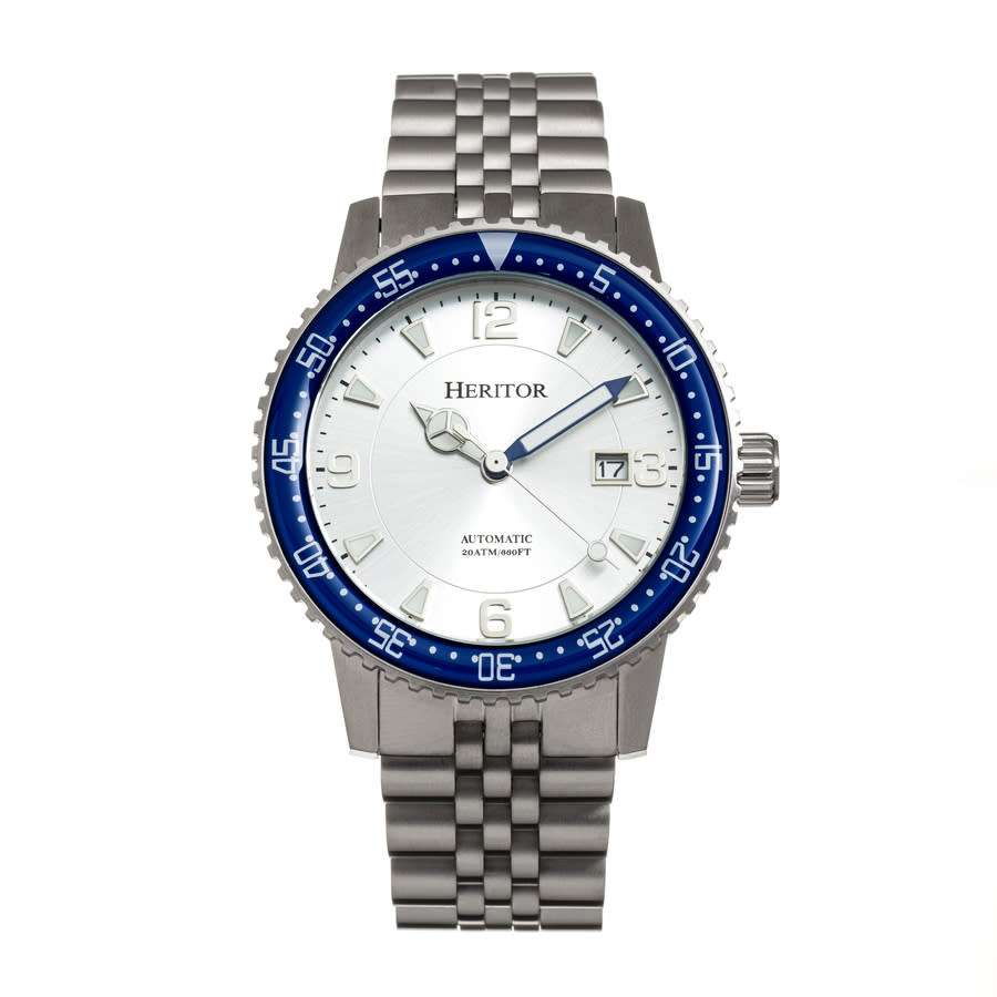 Heritor Dominic Automatic Silver Dial Mens Watch Herhr9801 In Blue,silver Tone