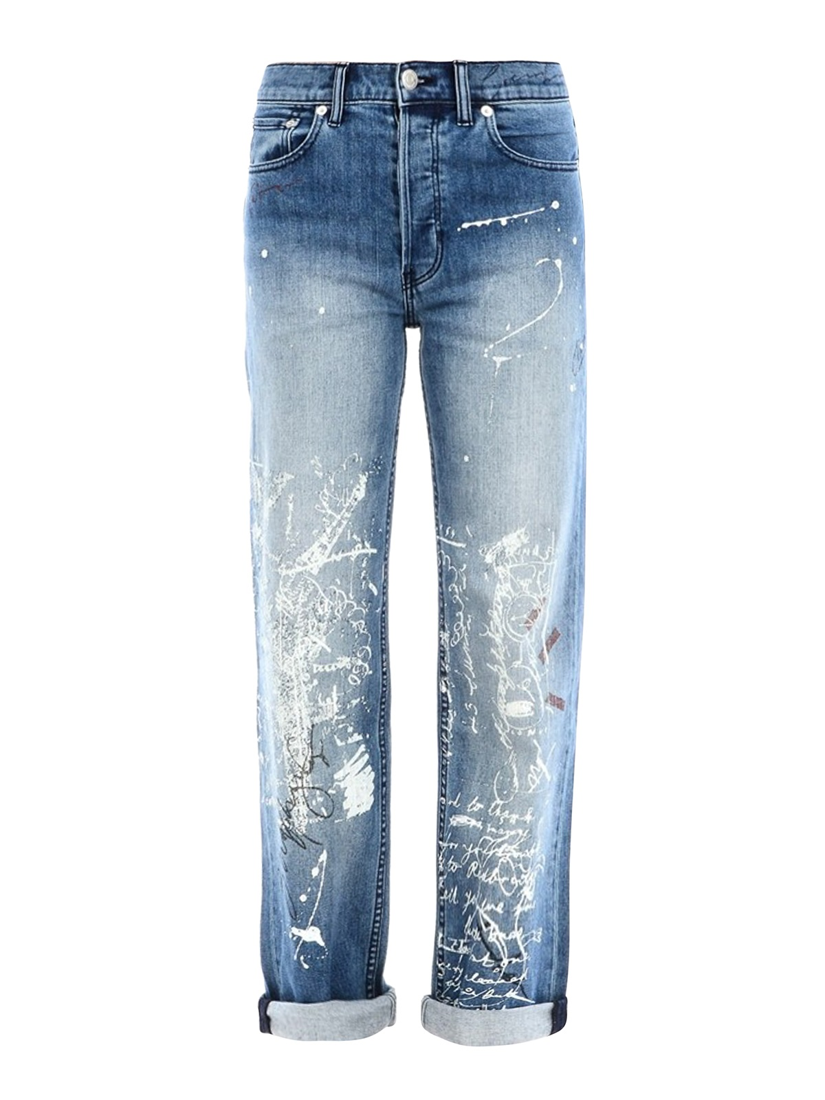 Burberry Ladies Graffiti Straight High-rise Jeans In Blue
