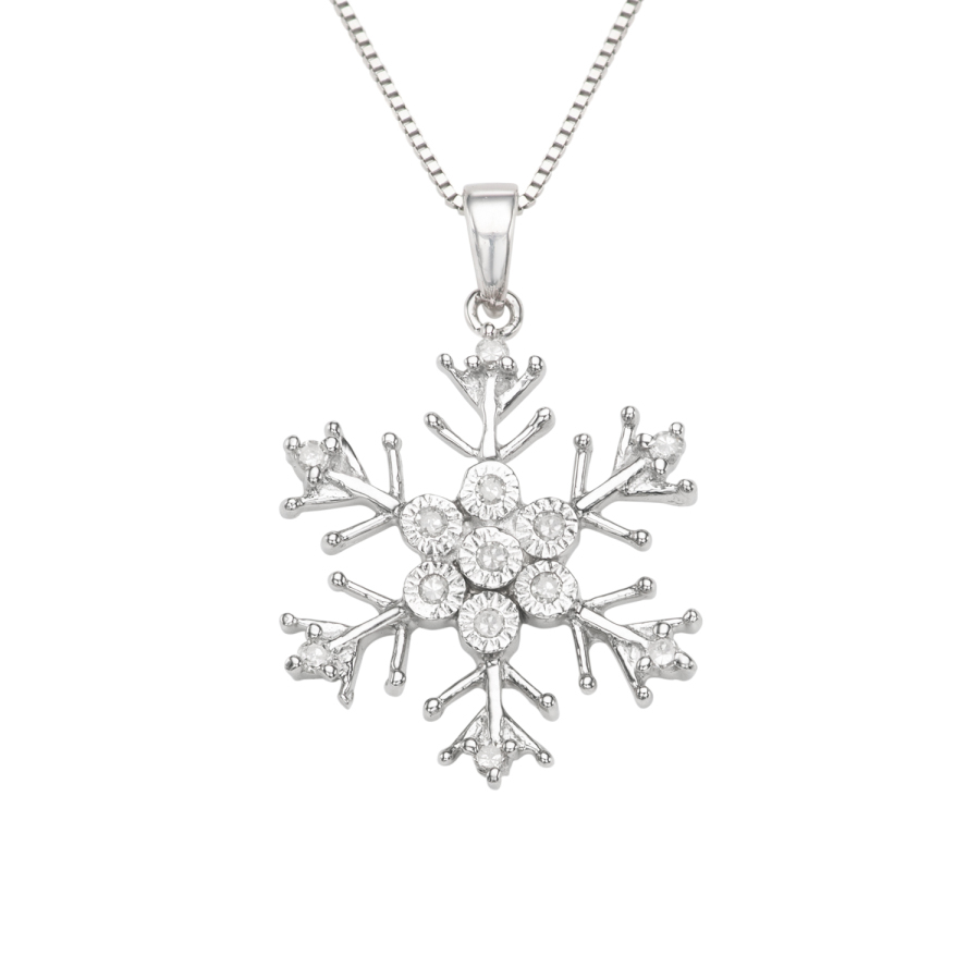Hetal Diamonds 0.11cttw Diamond Snowflake Necklace In Sterling Silver In Metallic