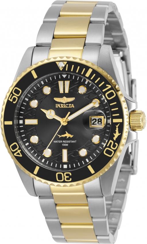 Invicta Pro Diver Quartz Black Dial Ladies Watch 30483 In Black,gold Tone,silver Tone,two Tone,yellow