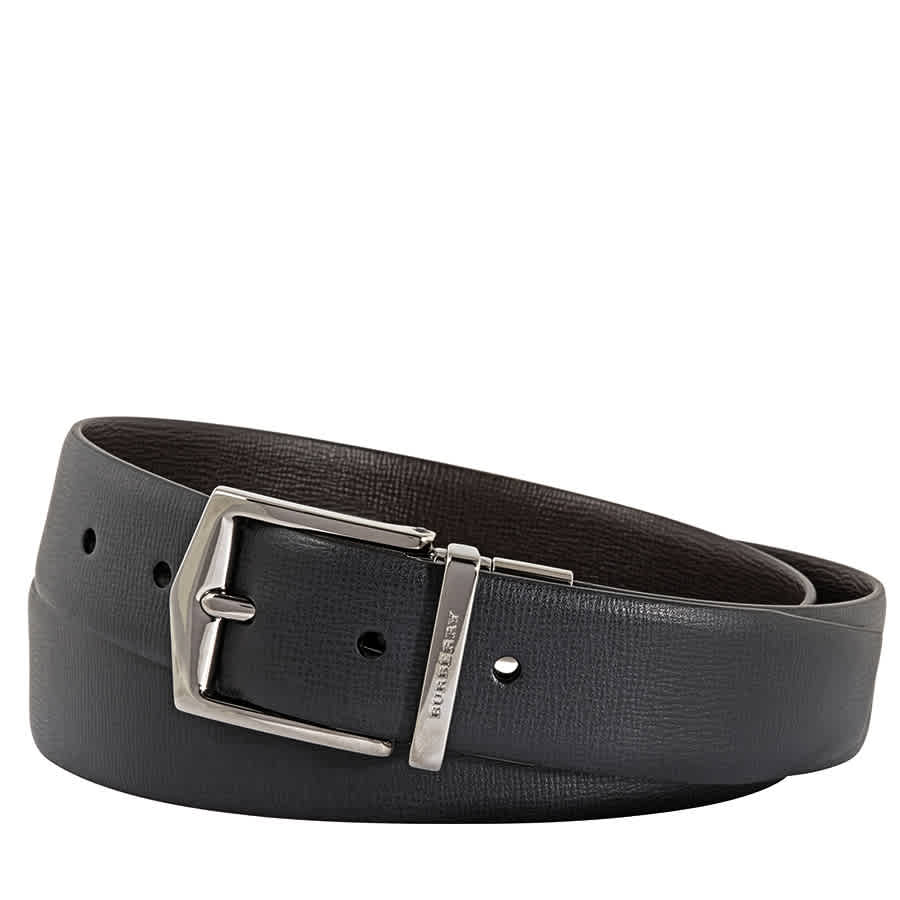 Burberry Mens London Leather Chocolate/black Belt In Black,brown