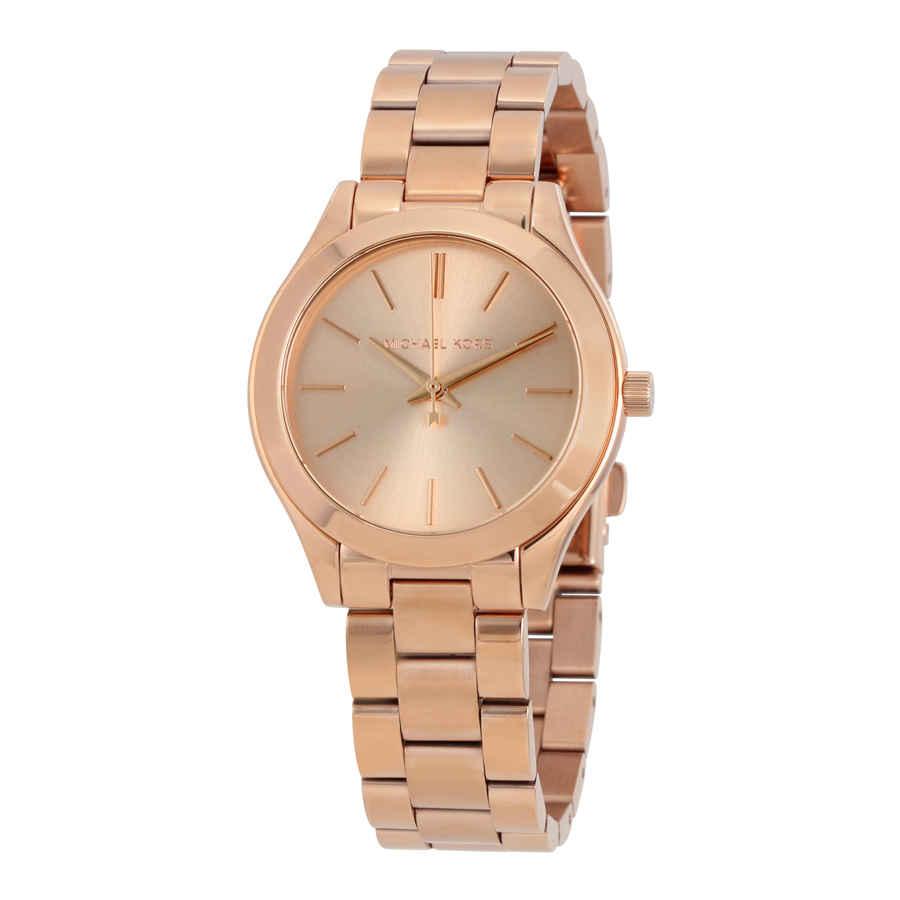 Michael Kors Mini Slim Runway Ladies Watch Mk3513 In Gold Tone,pink,rose Gold Tone
