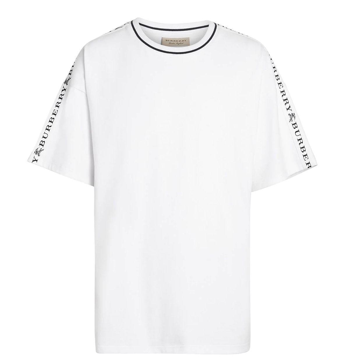 Burberry Short Sleeve Tape Detail Cotton T-shirt In White