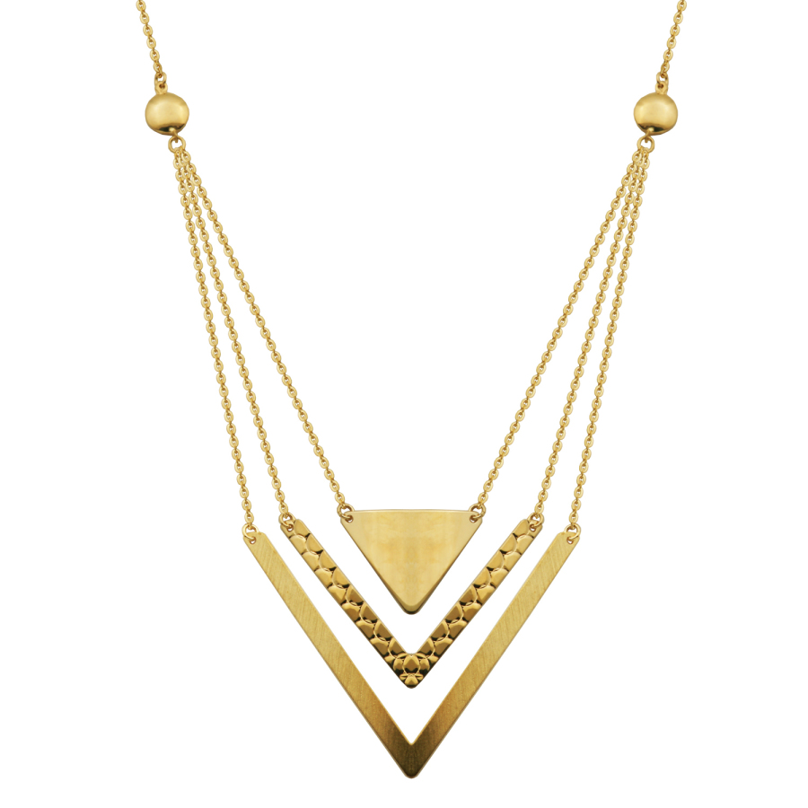 Treesse 10k Yellow Gold Triple Row Triangle Arrow Necklace In Gold Tone,green,yellow