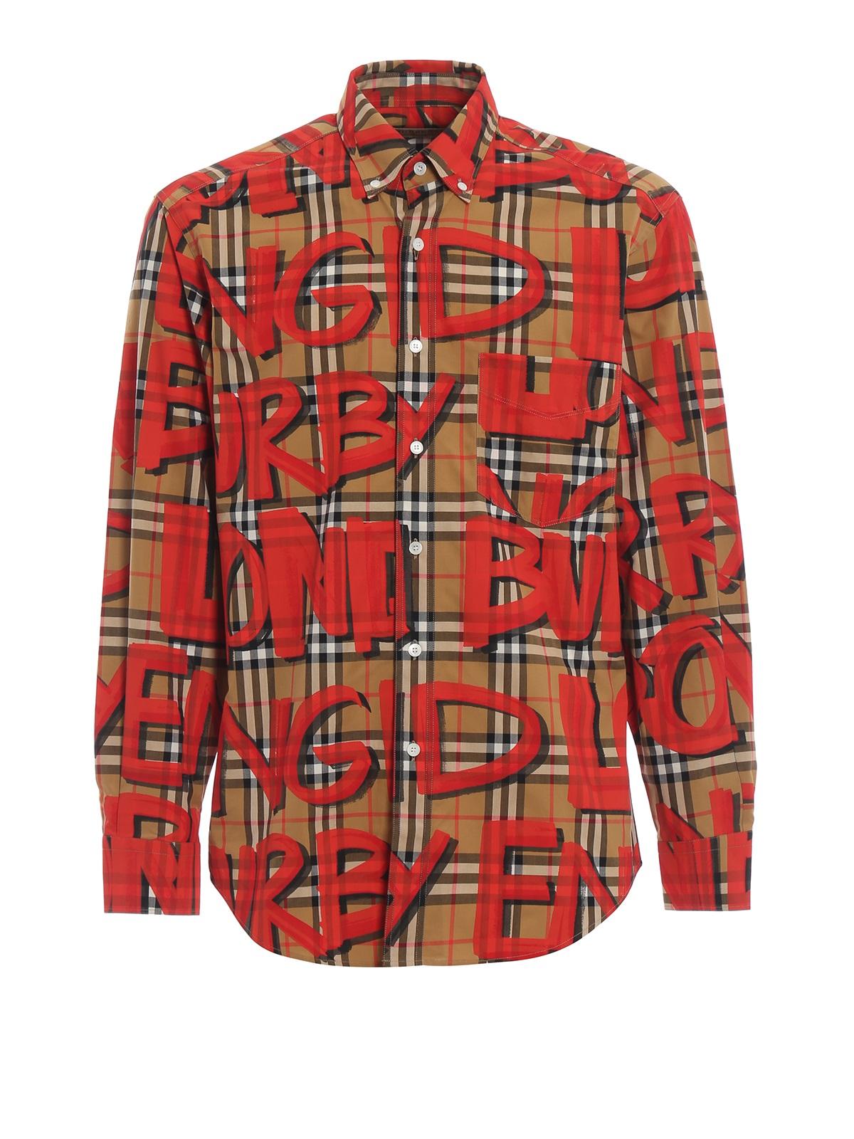 Burberry Mens Graffiti Print Check Cotton Jameson Shirt In N,a