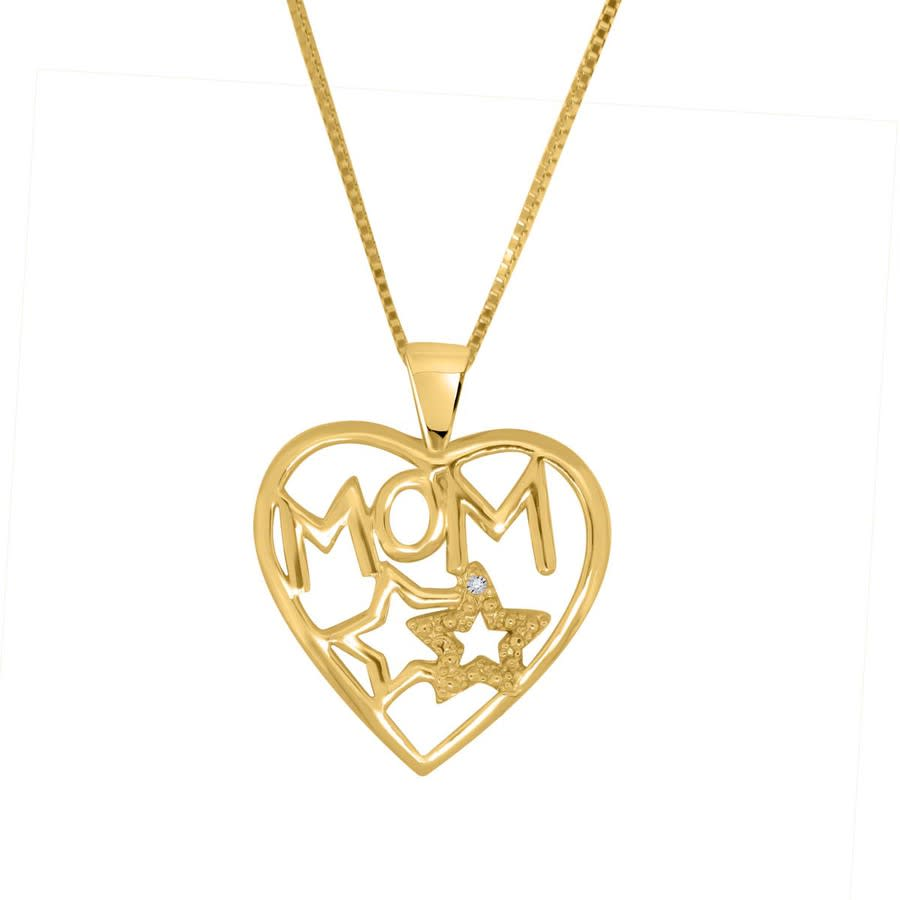 Maulijewels 0.005 Carat Natural Diamond Mom Heart Pendant For Woman Crafted In 10k Yellow Gold With 18'' Sterlin In Gold Tone,silver Tone,white,yellow