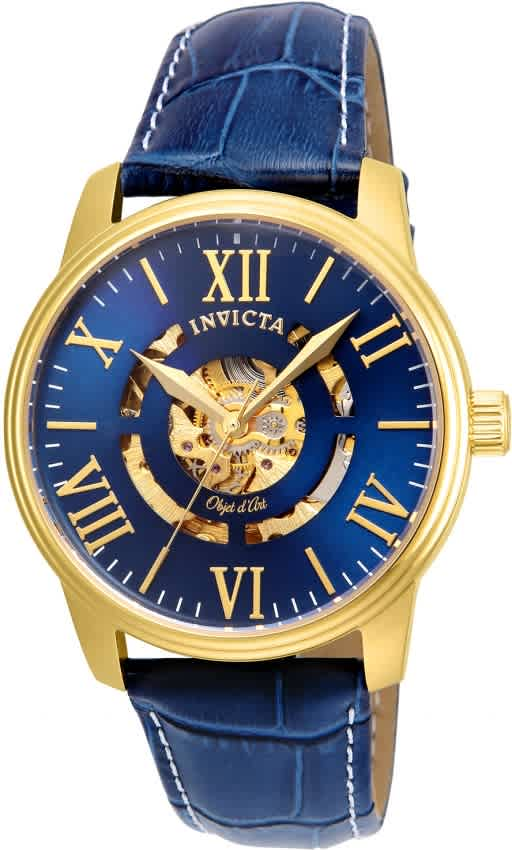 Invicta Objet D Art Automatic Blue Skeleton Dial Mens Watch 22601