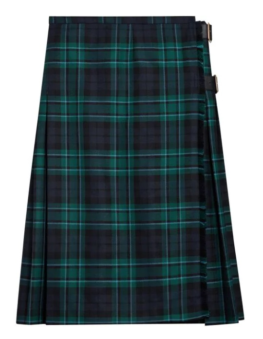 Burberry Tayrbidge Wool Pleated Plaid Leather Belted Skirt In Green