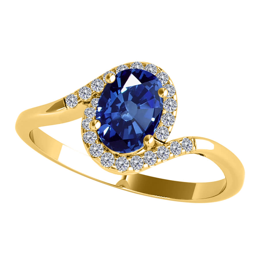 Maulijewels 1.00 Carat Oval Shape Sapphire & Diamond Gemstone Ring In 10k Solid Yellow Gold In Blue