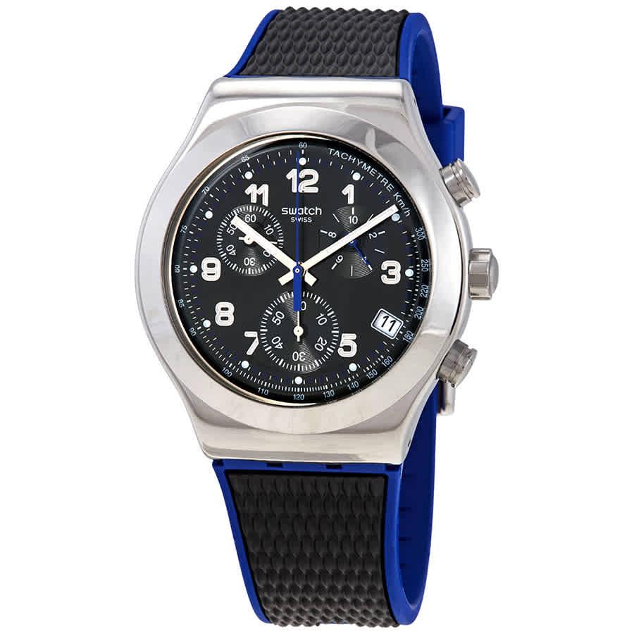Swatch Secret Mission Chronograph Quartz Black Dial Mens Watch Yvs451 In Black,blue,silver Tone
