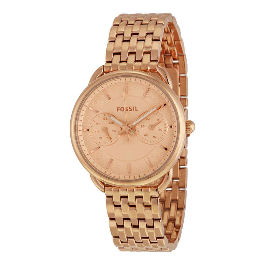 Fossil Tailor Multifunction Rose Dial Ladies Watch Es3713 In Gold Tone,pink,rose Gold Tone,two Tone