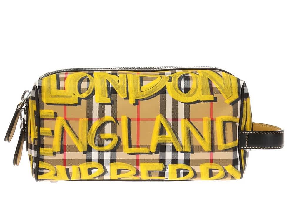 Burberry Graffiti Print Checked Wash Bag In Yellow
