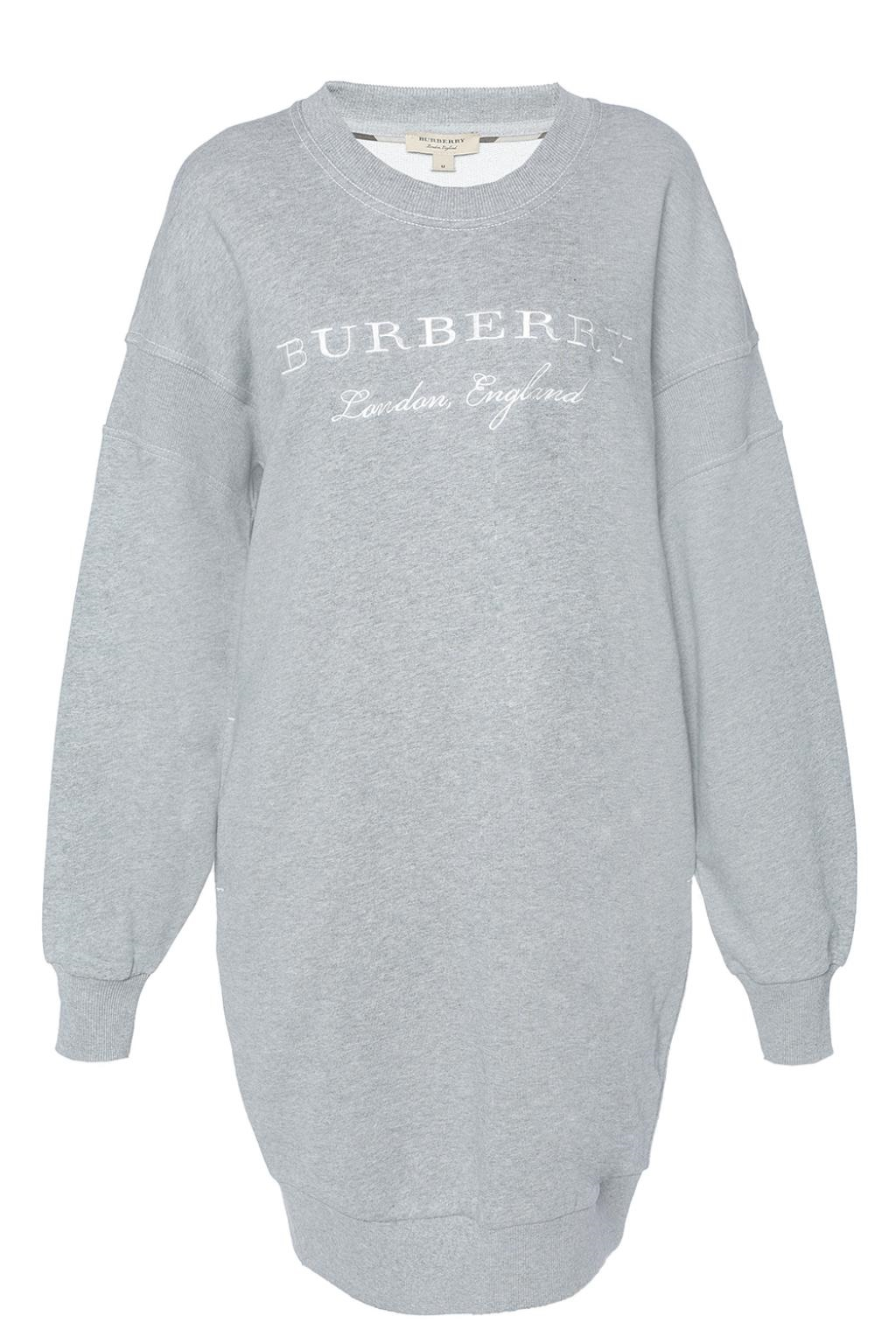 Burberry Soure Embroidered Cotton-jersey Sweatshirt Dress In Grey
