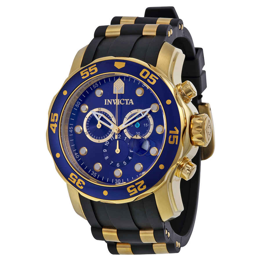 Invicta Pro Diver Chronograph Blue Dial Black Polyurethane Mens Watch 17882