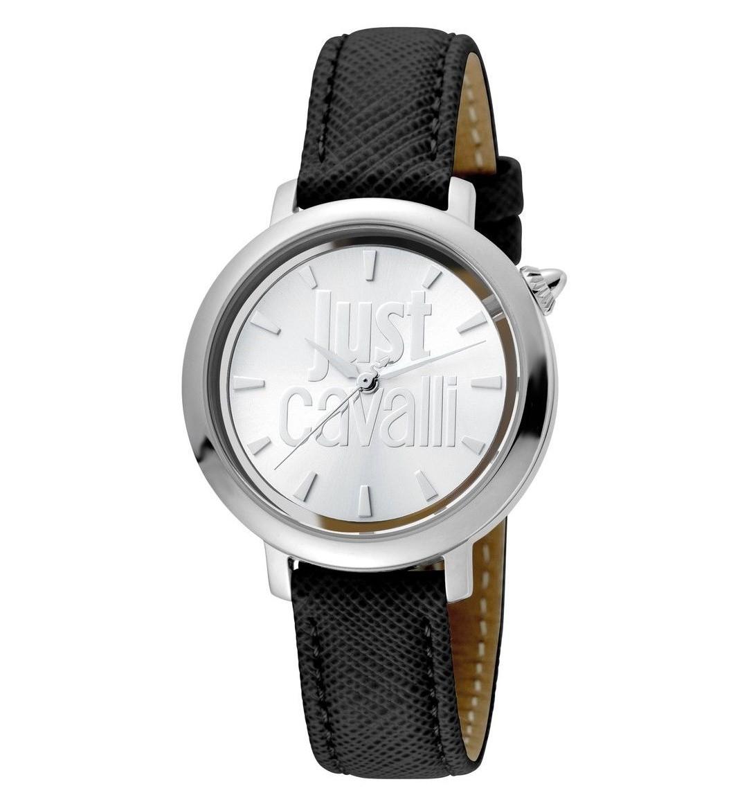 Just Cavalli Logo Silver Dial Ladies Watch Jc1l007l0015 In Black
