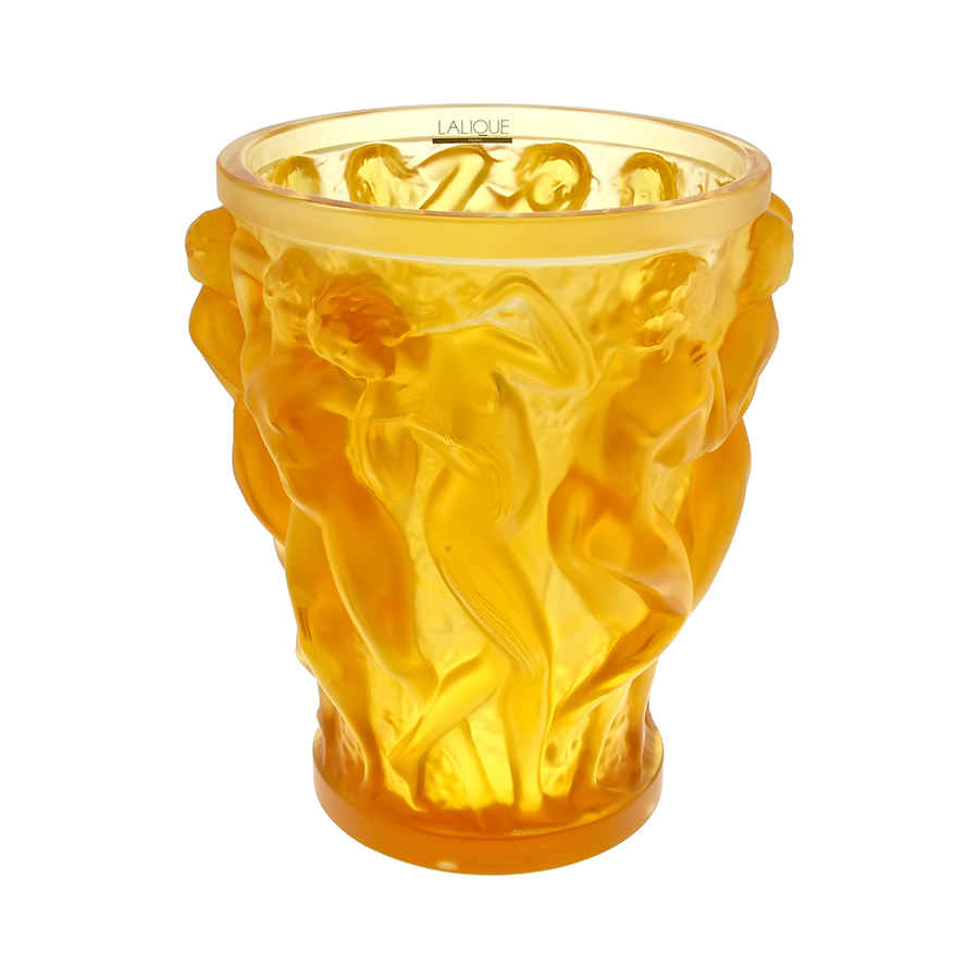 Lalique Bacchantes Amber Vase In Yellow