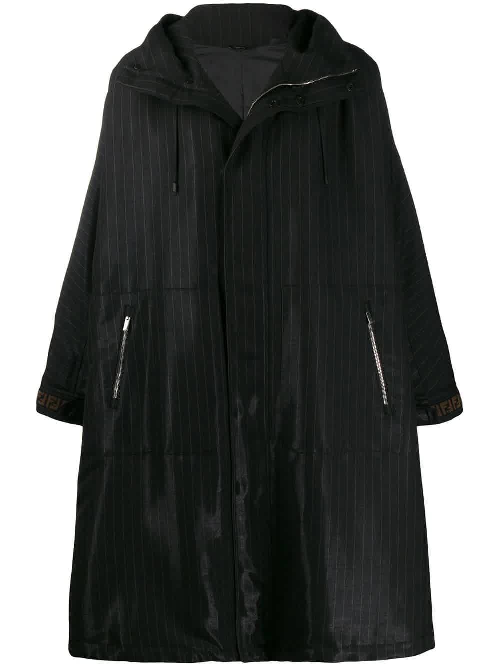 Fendi Mens Black Oversized Ff Parka
