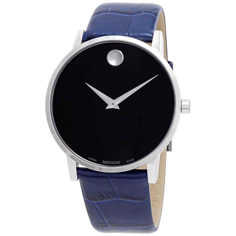 MOVADO BLACK DIAL BLUE STRAP MENS WATCH 0607221
