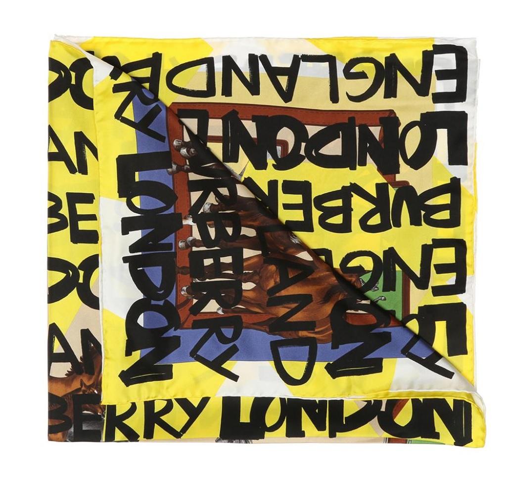 Burberry Bright Yellow Graffiti Archive Square Scarf
